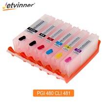 цена на Jetvinner 6-color PGI 480 CLI 481 XXL Refillable Ink Cartridge For Canon PIXMA TS8140 TS9140 Printer With Auto Reset Chips