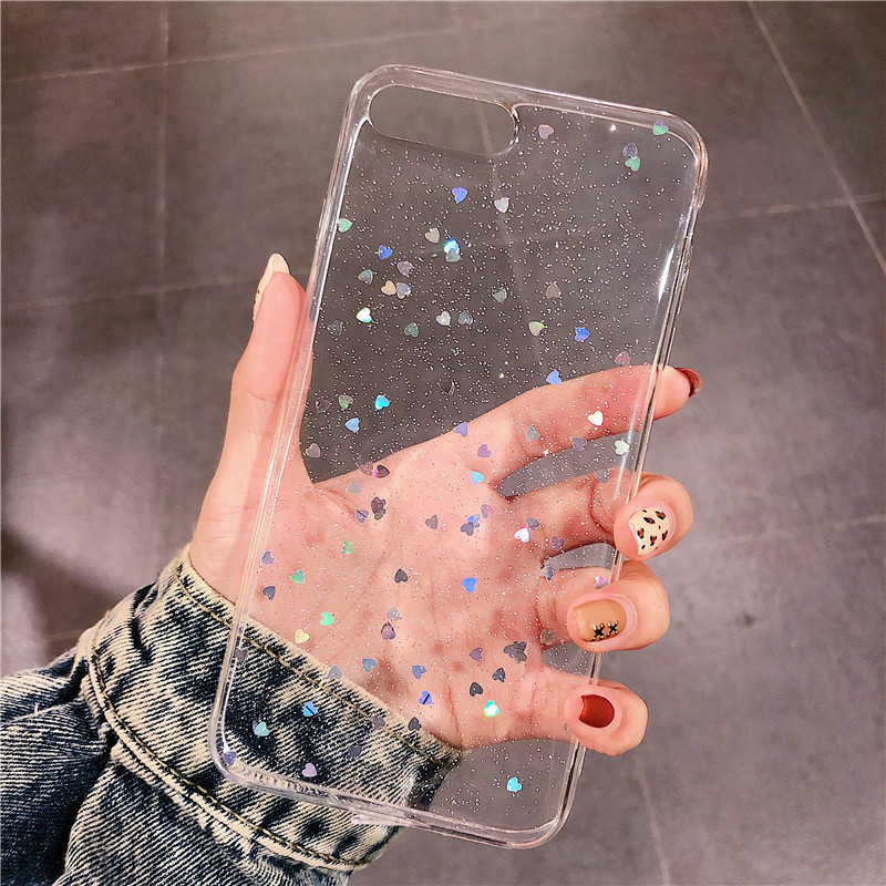 Hb0083f3a691a413daafbfcbaf88ae665F - Ottwn Glitter Phone Case For iPhone 11 Case 11 Pro XS Max XR X 6 6s 7 8 Plus Love Heart Star Sequins Soft Bling Clear Cover Capa