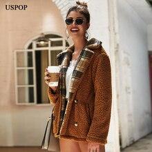 USPOP 2019 New thick winter coats fleece solid color coat outwear
