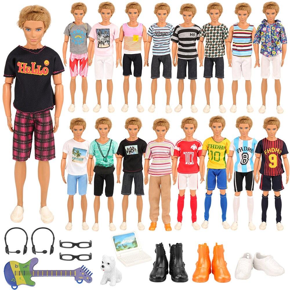 Newest Fashion Doll Accessories 22 Items/set= 12 Ken Clothes Random +2 Headphone Glasses +1 Dog Mini Laptop Guitar +3 Doll Shoes