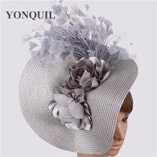 Имитация соломы Большой Дерби шляпа-чародей красивый цветок головной убор с причудливыми перьями гоночные аксессуары для волос заколка для волос