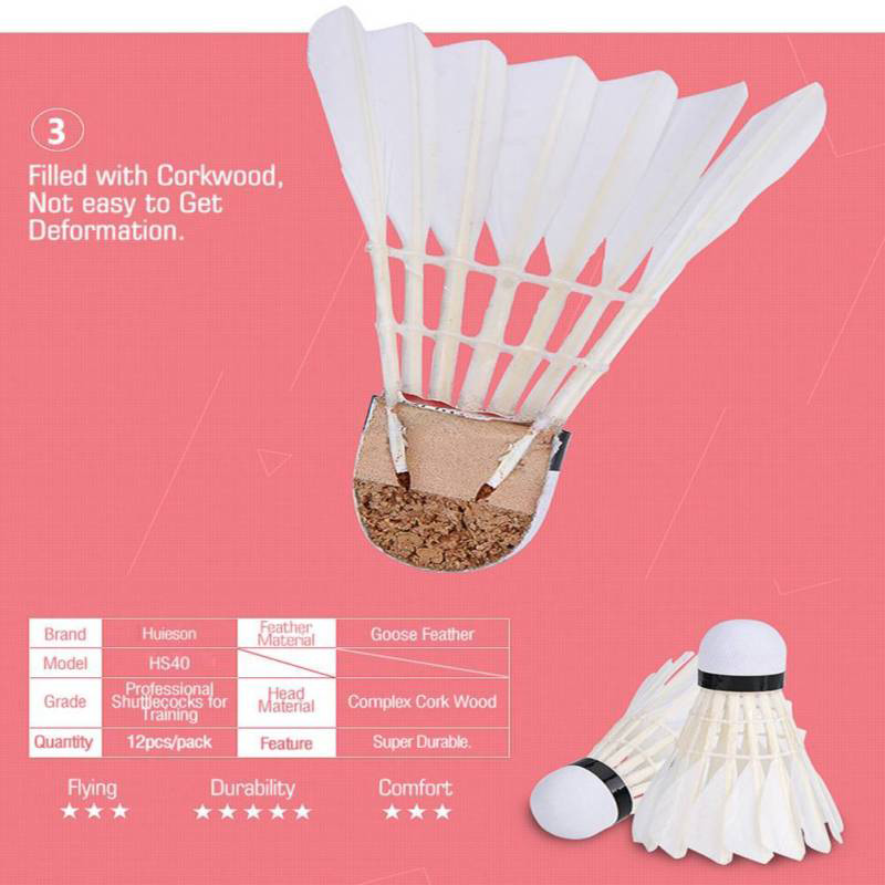 Купить с кэшбэком Durable Shuttlecocks Goose Feather Cork Wood Head White Badminton 12pcs/Pack Super Hot Sale