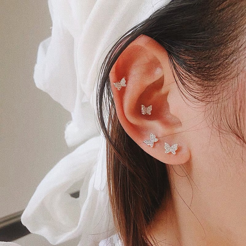 FFLACELL 2019 Korean New Style 925 Silver Pin Chic Shiny Cute Zircon Butterfly Earrings For Woman Girl Gift Party Jewelry 1pcs