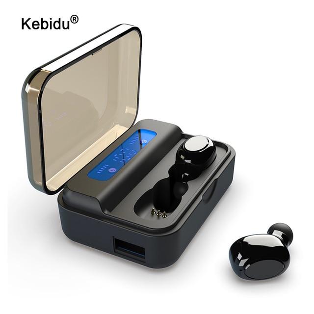 Kebidu TWS بلوتوث 5.0 سماعة S590 9D سماعات أذن استريو LED شاشة ديجيتال سماعات لاسلكية سماعات أذن رياضية محمولة