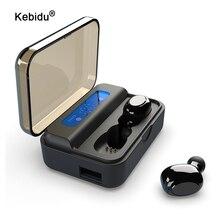 Kebidu TWS Bluetooth 5.0 kulaklık S590 9D Stereo kulakiçi LED dijital ekran kablosuz kulaklıklar taşınabilir spor kulaklık