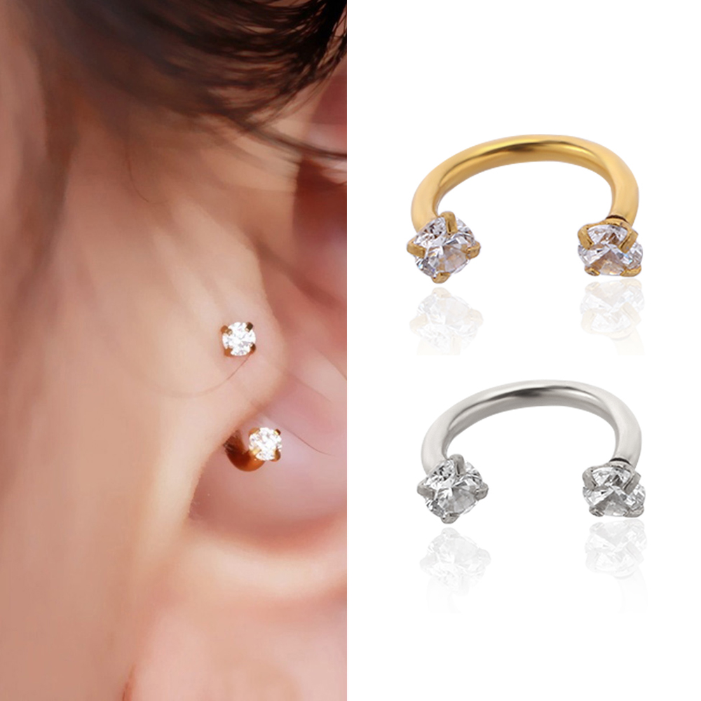 1Pair Gold  Stainless Steel Key Shape Cartilage Earring Ear Stud Jewelry Fashion