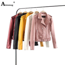 Aimsnug Plus Size S-3XL Solid Motorcycle Leather PU Sashes Jacket Women Autumn Coat Zipper Outerwear jacket New 2019