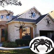 Cadılar bayramı süper büyük peluş örümcek dekorasyon çocuk oyuncak dev siyah örümcek Web parti açık perili ev dekor kürklü tüylü örümcek