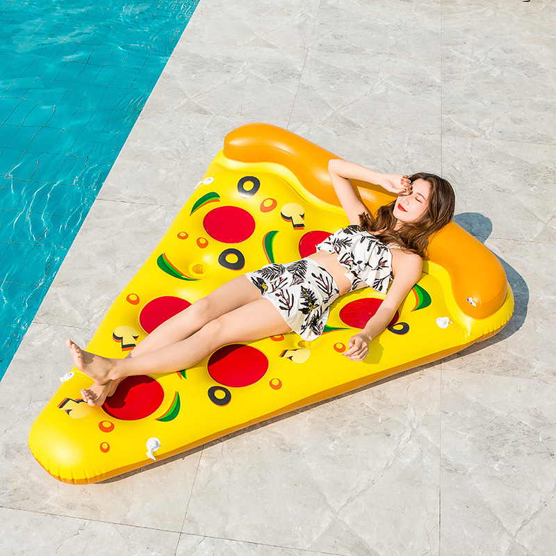 New Summer Inflatable Pizza Floating Island ,Swimming Mattress Air Bed,festival Party Water Toys For Adult