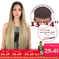 "MAGIC 13X4 Lace Front Wig For Black Women Long 32""Inch Heat Resistant Straight Wigs Blonde Natural Synthetic Wigs Cosplay Hair"