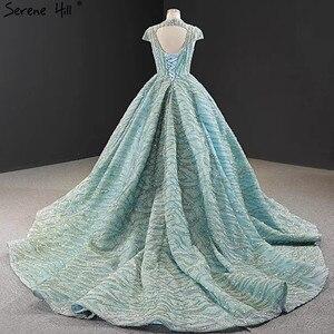 Image 3 - Klar Wasser Blau Hohe Kragen Abendkleider 2020 Kurzarm Spitze Pailletten Brautkleider Design Real Photo HM66981