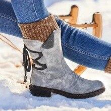 Женские ботинки модные осенние ботинки до середины икры из PU искусственной кожи с задней шнуровкой однотонная обувь на низком каблуке Женская обувь