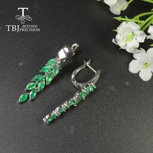 Image 5 - ロングナチュラルエメラルドイヤリング貴石宝石グリーンザンビアエメラルドの宝石 925 スターリングシルバー女性のための最高のギフト