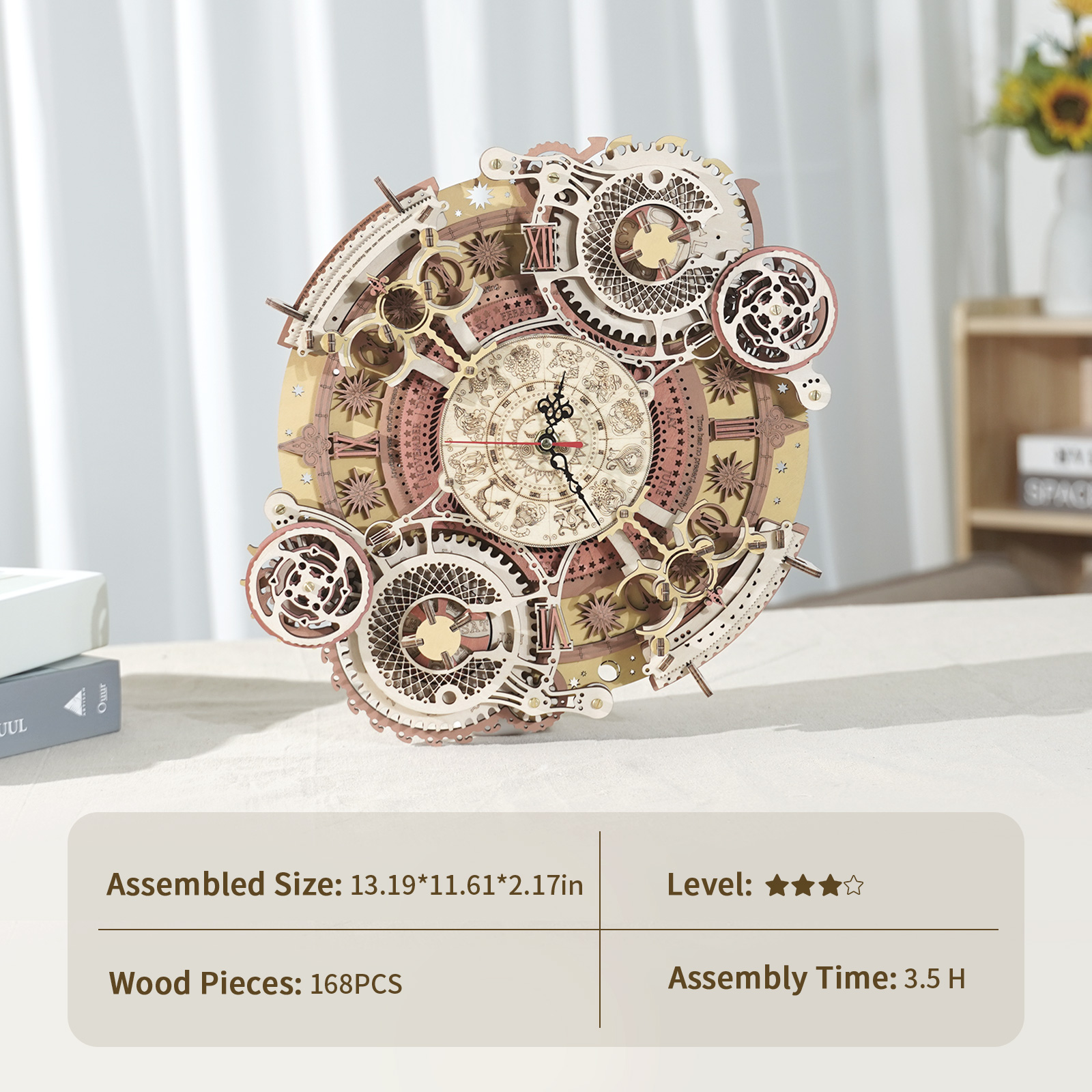 Robotime ROKR Zodiac Wall Clock 3d Wooden Puzzle Model Toys for Children Kids LC601 3
