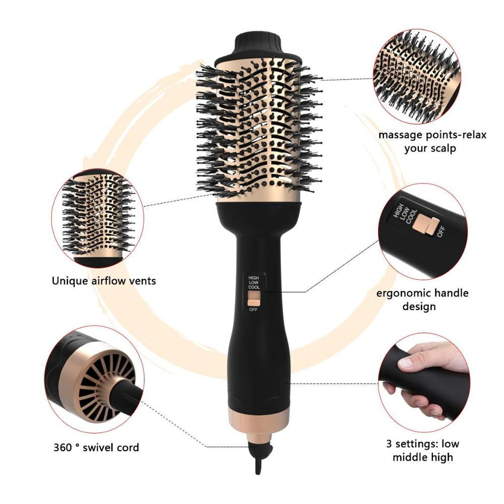 Image 3 - Professional One Step Hair blow dryer Brush and Volumizer hot air curling iron roller 3 in 1 Smooth Frizz with Ionic Technology-in Curling Irons from Home Appliances