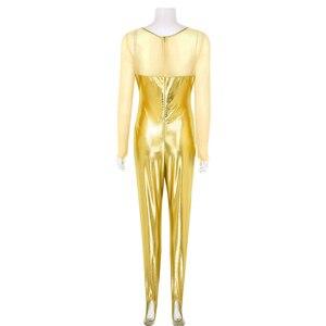 Image 3 - ChicTry dla dorosłych błyszczące metalowe z długim rękawem jednoczęściowy balet trykot gimnastyka kobiet body Catsuit siłownia Unitards kostium taneczny