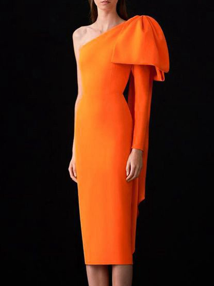 Bandage Dress Club Runway Ocstrade Orange Bodycon One-Sleeve Women Sexy Bow Bownot