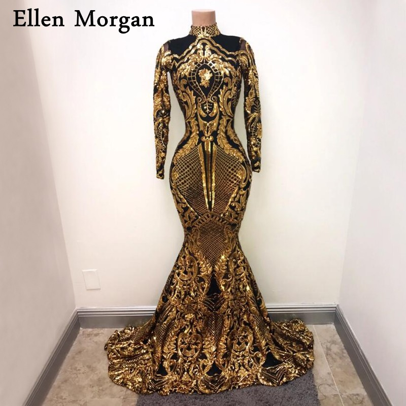 African Black Girls Mermaid   Prom     Dresses   for Women Wear 2019 Real Photos Elastic High Neck Long Sleeves Sequined Party Gowns