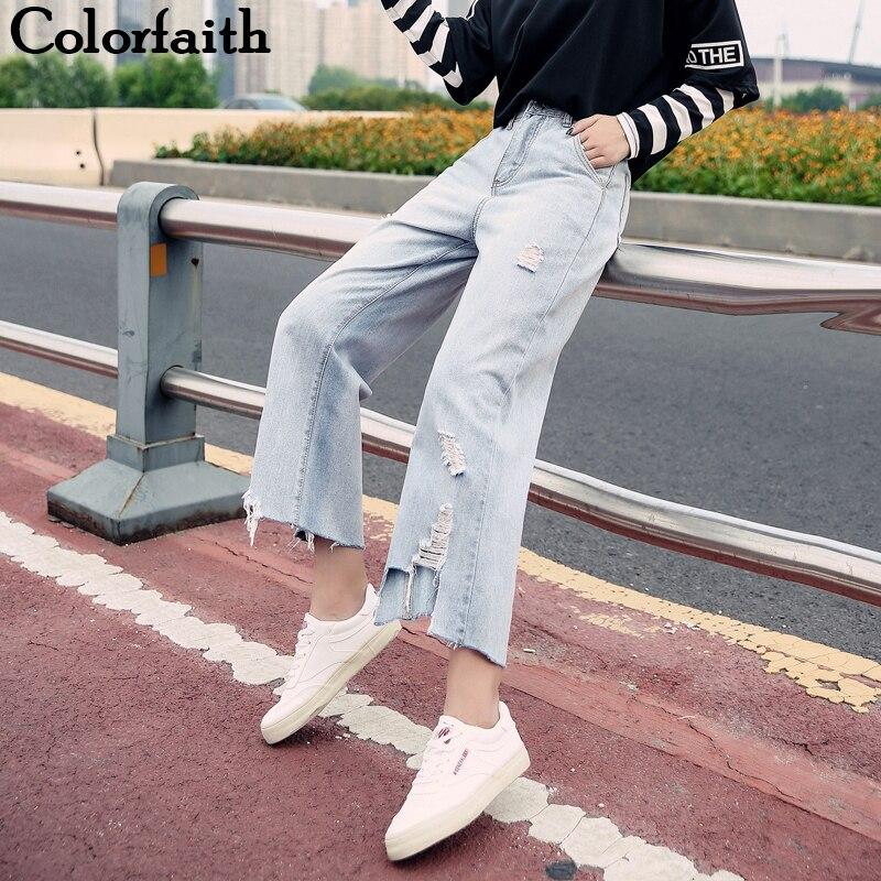 Colorfaith New 2019 Women Jeans Ripped Torn Blue Wide Leg Boyfriends Vintage Ankle-Length High Waist Pants Denim Jeans J566