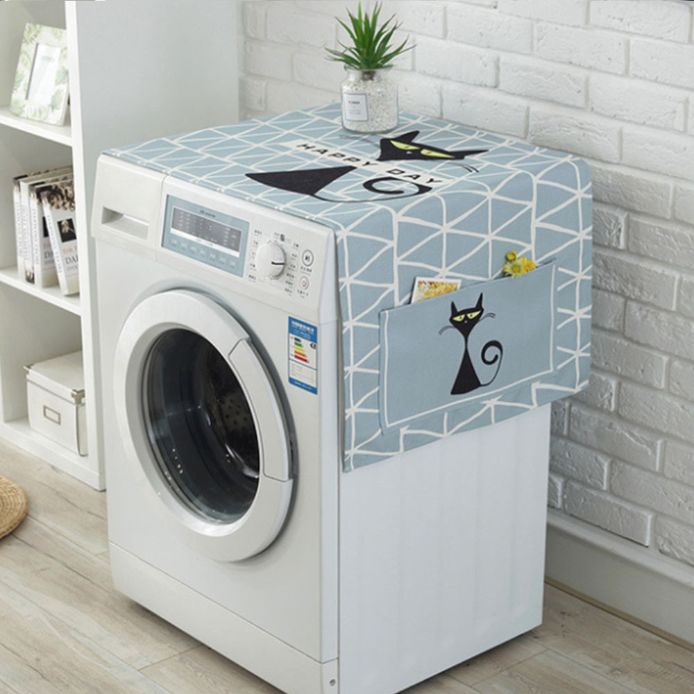 Geometric Fridge Dust Cover Washing Machine Cover Towel Cartoon Thick Cotton Linen Home Refrigerator Cloth Kitchen Products|Washing Machine Covers| |  - title=