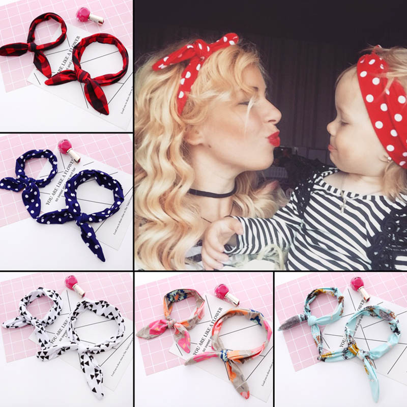Mom Mother & Baby Headband baby girl Bow hair band Mom Daughter Rabbit Ears Turban Parent-Child Print hair Accessories