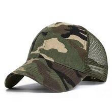 Moda ajustável boné de beisebol masculino camuflagem camo boné unisex respirável malha chapéu masculino feminino casual boné tático