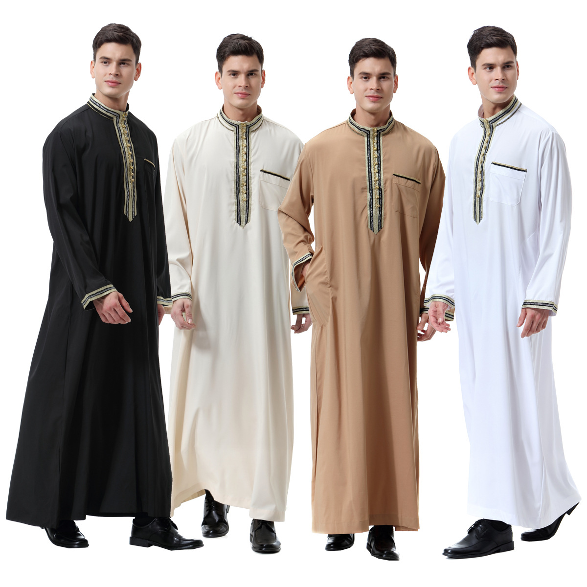 Muslim Arab Middle East Men Flower Stickers Stand Collar Robes, Th810