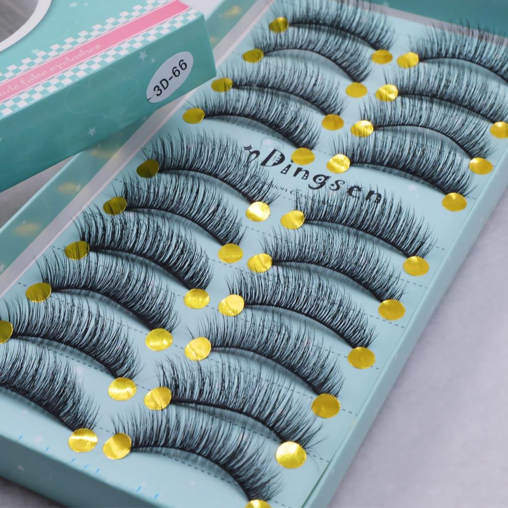 Натуральные накладные Искусственные ресницы, 10 пар, длинные норковые ресницы для макияжа, 3d наращивание ресниц для красоты, 3D66-71