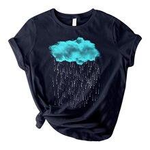 Camisetas artísticas con estampado de nube y lluvia para Mujer, blusa informal de Manga Corta con cuello redondo, ropa elegante