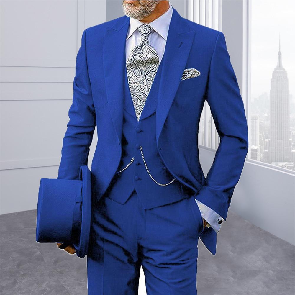 Royal Blue Blazer Slim Fit Smoking Suits For Mens Custom Made 3 Pieces Formal Trajes De Hombre Ternos Mens Suits Custom Made