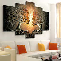 Modern Wall Art Canvas Painting 5 Pieces Abstract Kiss Tree Posters and Prints Wall Pictures for Living Room Bedroom Decoration