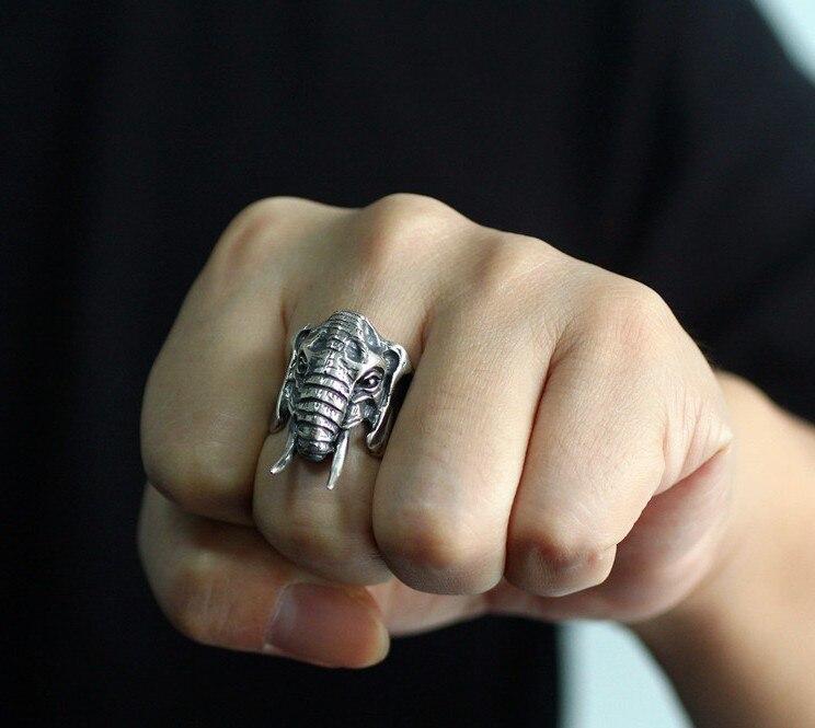 Bague éléphant 925 en argent sterling Thai argent fait à la main rétro personnalité dominatrice paix hommes grand anneau
