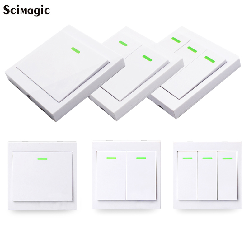433MHz Universal Wireless Remote Control 86 Wall Panel RF Transmitter Receiver 1 2 3 Button For Home Room Light Switch