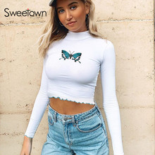 Sweetown White Basic Summer Autumn Tshirt Women Cute Butterfly Cartoon Graphic T Shirts Long Sleeve