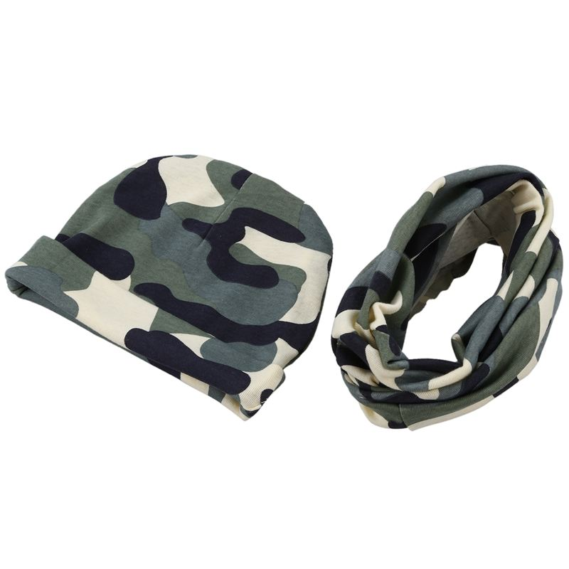 Baby Hat And Scarf Set, Beanie Hat With Snood Scarf Neck Warmer For Infant Kids Camouflage Gray