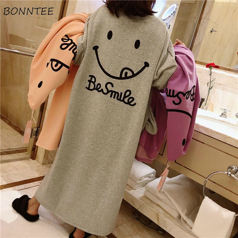 Nightgowns Women Thickening Loose Comfortable Elegant Womens Leisure Daily New Plus Size 2XL High Quality Printed Korean Style