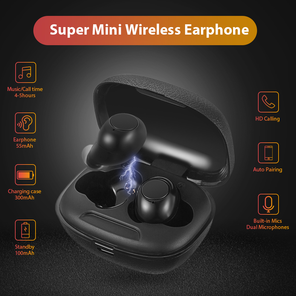 Mini V5.0 Bluetooth Earphone 3D Stereo Wireless Earphones Sports Wireless Headphones Gaming Headset with dual Microphones