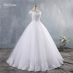 Image 5 - ZJ9143 2019 2020 חדש לבן שנהב אלגנטי כבוי כתף שמלות כלה עבור כלות תחתון תחרה מתוקה עם תחרה קצה בתוספת גודל