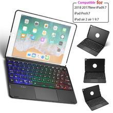 For iPad Air 1 2  iPad Pro 9.7 iPad 9.7 2018 2017 Case Keyboard 7 Color Backlit Bluetooth English Keyboard Tablet Aluminum Case keyboard case for ipad 9 7 2017 2018 air 2 pro 9 7 cover for ipad mini 4 5 7 9 shell for ipad air 3 2019 pro 10 5 case keyboard