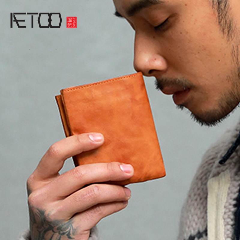 AETOO Ultra-thin Japanese Make Old Handmade Wallet Male Short Youth Japanese Retro Cowhide Wallet