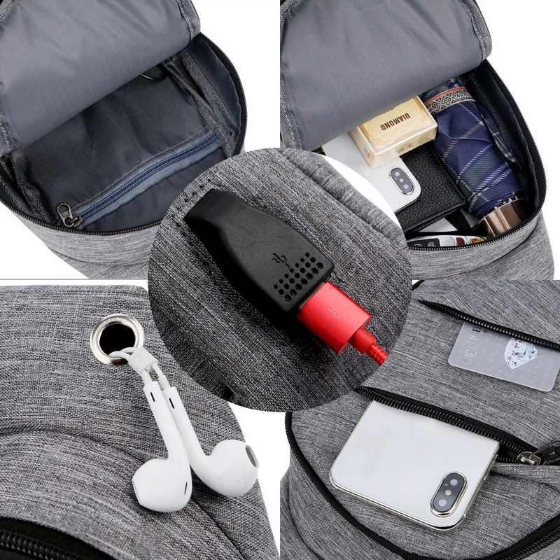 Torba na ramię USB do ładowania dla mężczyzn torba na klatkę piersiowa na co dzień wodoodporna torba przekątna koreańska wersja torby na otwór na słuchawki