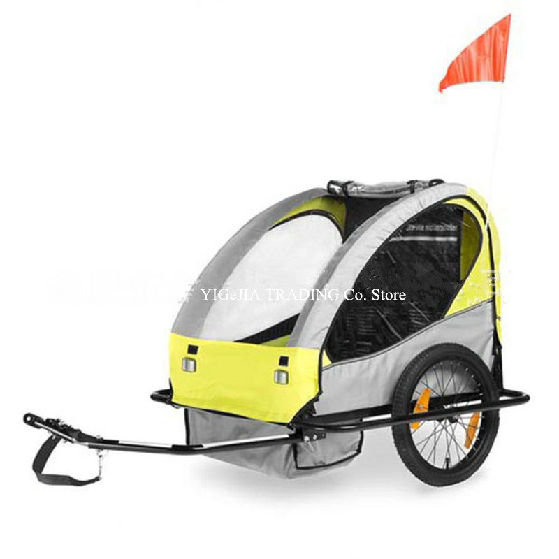 Twins Bicycle Trailer, Steel Frame Double Bicycle Trailer, 2 Seats Kids Bike Trailer, Yellow Color Trailer