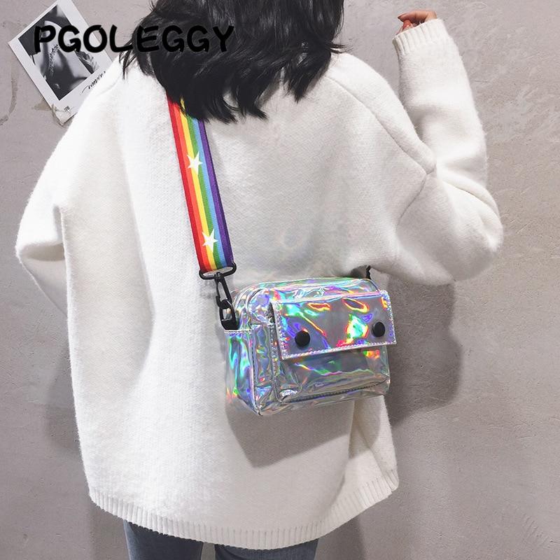 PGOLEGGY Laser Crossbody Bags For Women 2019 Fashion Handbag Luxury Women PU Leather Shoulder Bags For Travel Waterproof Handbag