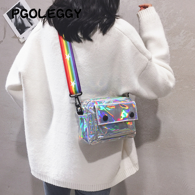 PGOLEGGY lazer kadınlar için Crossbody çanta 2019 moda çanta lüks kadın PU deri omuz çantaları seyahat için su geçirmez çanta