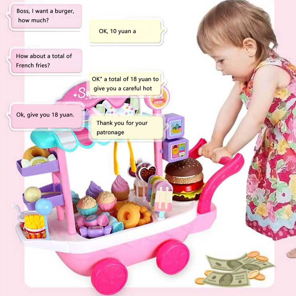 36 Pcs Pretend Game Plastic Children House Play Gifts Simulation Non Toxic Mini Educational Funny Ice Cream Candy Cart Toy Set