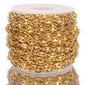 Золотая цепочка в форме кофейных зерен 1 м ожерелья из нержавеющей стали 5 мм свинья носовые цепи браслеты панк хип-хоп DIY ювелирное ожерелье ...