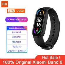 Xiaomi – Bracelet connecté Mi Band 6, Bluetooth, capteur d'activité physique avec suivi du rythme cardiaque et écran AMOLED de 1.56 pouces, 5 couleurs, Original