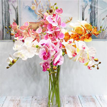 10pcs Real Touch Butterfly Orchid Flower High Quality 6 Heads Latex Phalaenopsis Orchid Plant for Artificial Decorative Flowers(China)