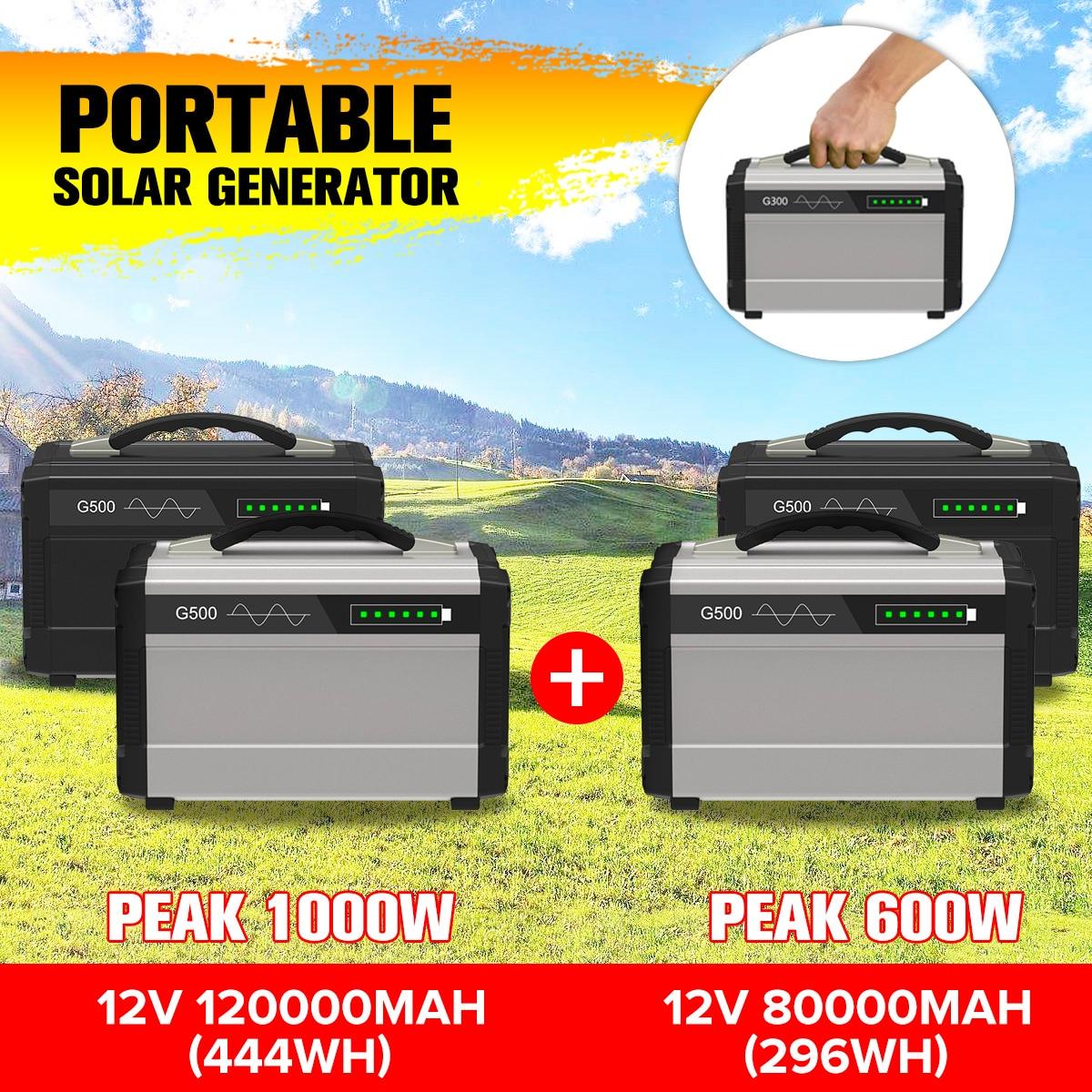 Générateur de stockage solaire LCD 600 W/1000 W, onduleur extérieur, UPS, alimentation à onde sinusoïdale Pure, stockage d'énergie USB, 80000/120000mAh