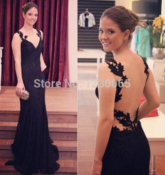 Robe De Soiree 2018 Elegant Party Prom Sexy See Through Black Lace Evening Gown Vestido De Festa Mother Of The Bride Dresses